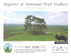 LDWA Ten UK National Trails Certificate