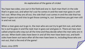 An explanation of cricket