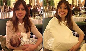 Louise Burns breastfeeding at Claridge's, December 2014. Images widely available on the Web.